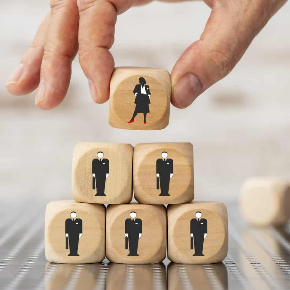 Cubes with business man and woman